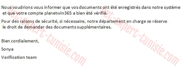 Mail verification planetwin tunisie